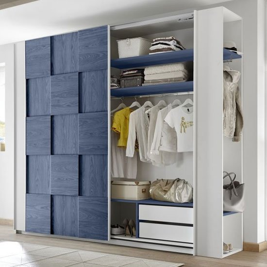 Altair Sliding Wardrobe In Matt White And Blue Oak 2 Doors_2