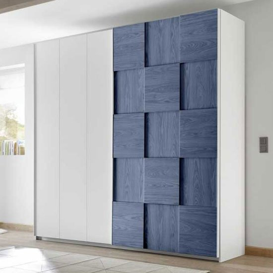 Altair Sliding Wardrobe In Matt White And Blue Oak 2 Doors_1