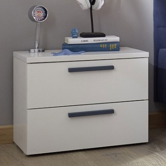 Altair Wooden Bedside Cabinet In Matt White And Blue Oak