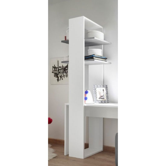 Altair Wooden Bookcase In Matt White With 2 Grey Shelves