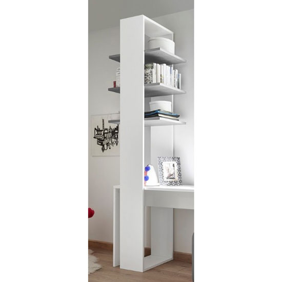 Altair Wooden Bookcase In Matt White With 3 Grey Shelves