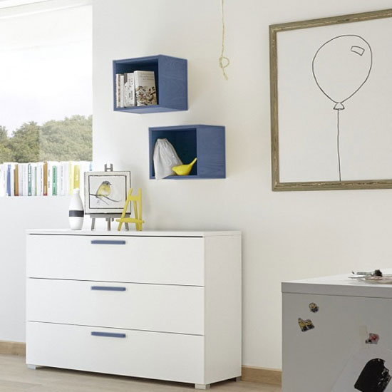 Altair Wooden Chest Of Drawers In Matt White And Blue Oak