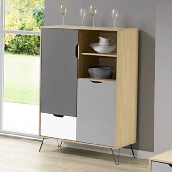 Altais Oak Effect Tall Sideboard In White And Grey