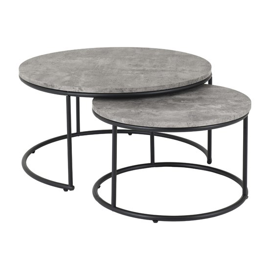 View Alterf round wooden set of 2 coffee table in concrete effect