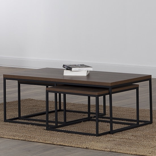 Altino Wooden Coffee Table Set In Walnut With Metal Frame