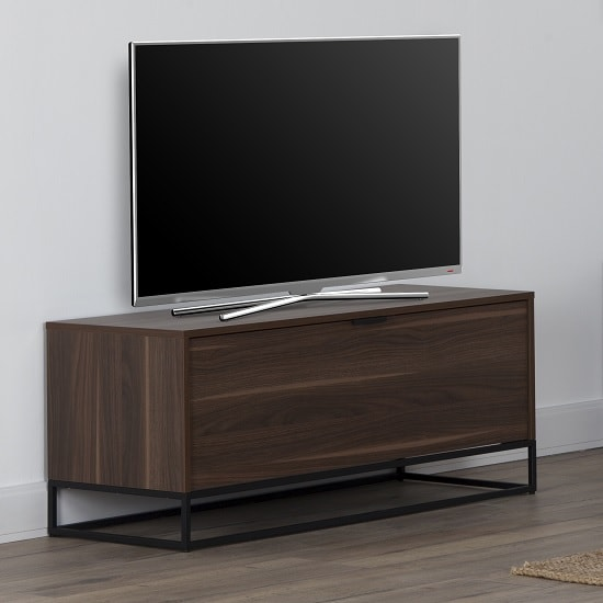 Altino Wooden TV Stand Rectangular In Walnut With Metal Frame