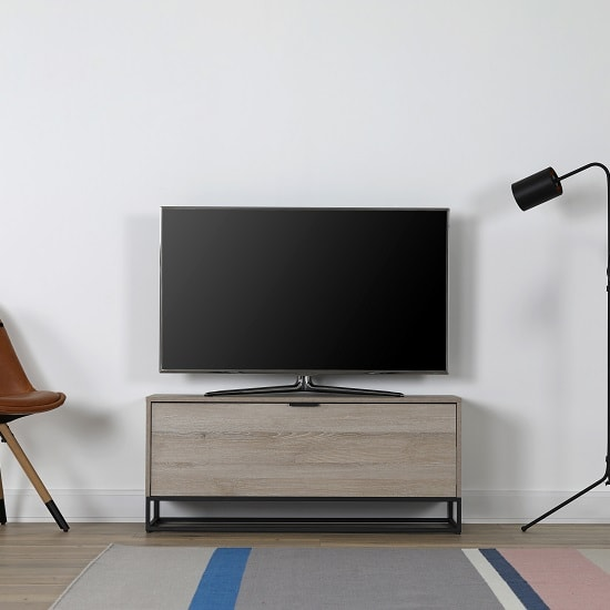 Altino Wooden TV Stand Rectangular In Oak With Metal Frame