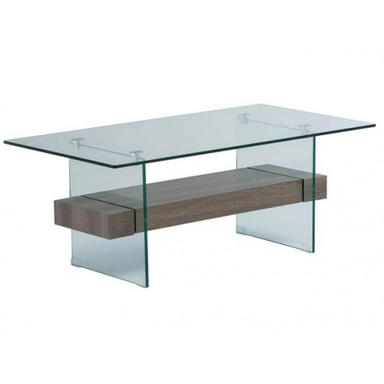 Alto Glass Coffee Table In Grey Oak