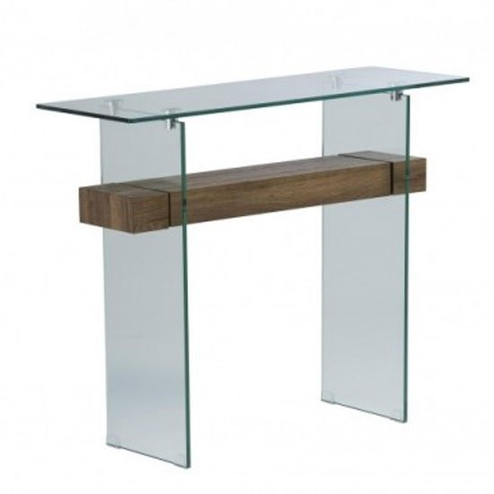 Alto Glass Console Table In Brown Oak
