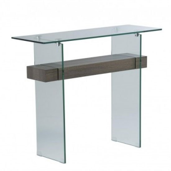 Alto Glass Console Table In Grey Oak