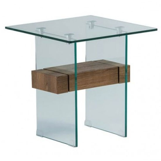 Alto Glass End Table In Brown Oak