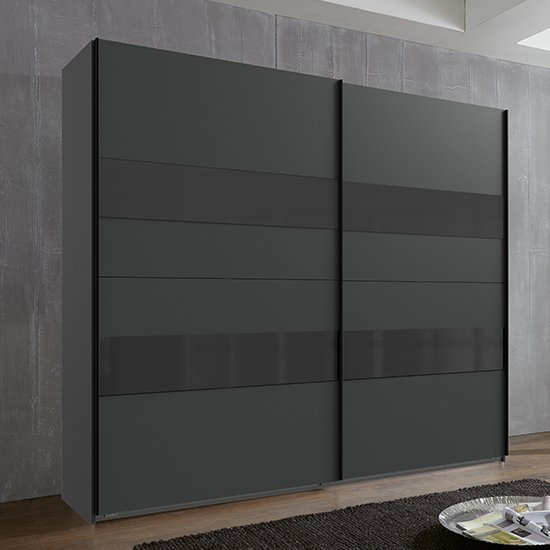 Alton Sliding Door Wooden Tall Wardrobe In Graphite And Grey