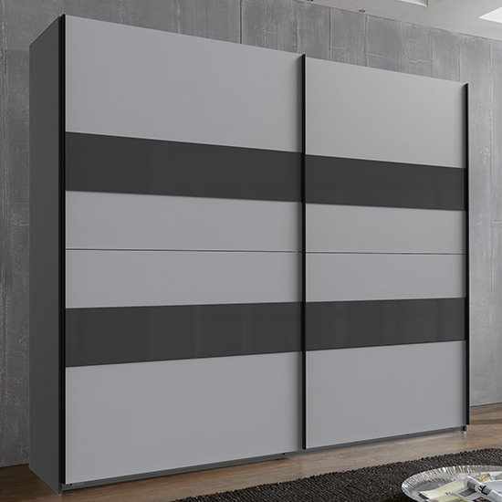 Alton Sliding Door Tall Wardrobe In Graphite And Light Grey