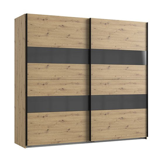 Alton Sliding Door Wardrobe In Artisan Oak And Grey_2