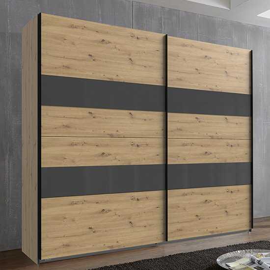 Alton Sliding Door Wardrobe In Artisan Oak And Grey