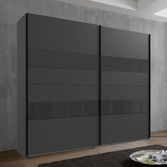 View Alton sliding door wooden wardrobe in graphite