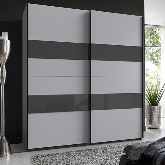Product photograph showing Altona Sliding Door Wardrobe In Graphite And Light Grey