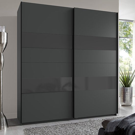 Altona Sliding Door Wide Wooden Wardrobe In Graphite