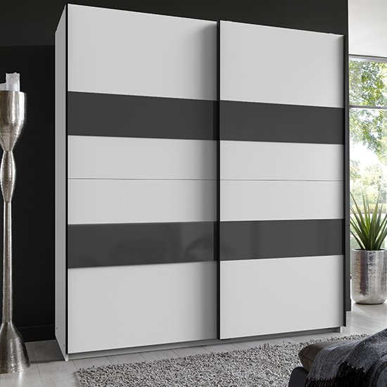 Altona Sliding Door Wide Wooden Wardrobe In White And Grey