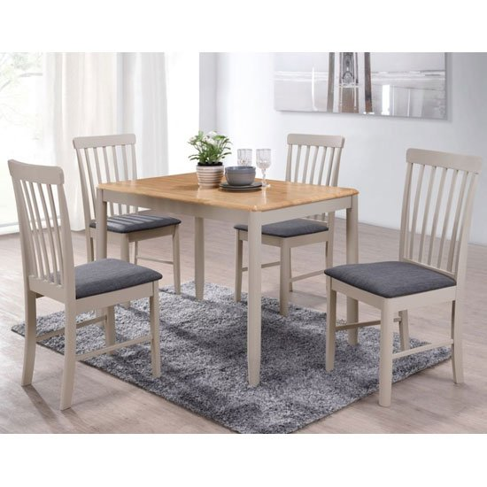 Altona Wooden Dining Set In Oak And Stone Grey With 4 Chairs