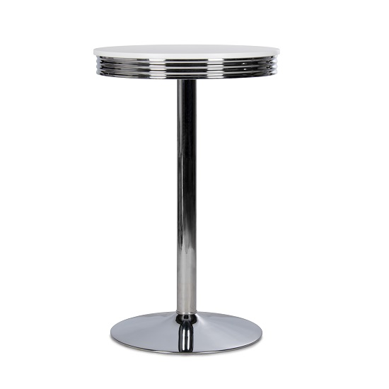 Altona Tall Bar Table Round In White With Metal Frame
