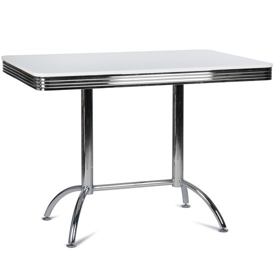 Photo of Altona high bar table rectangular in white with metal frame