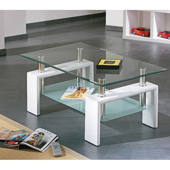 Glass Coffee Table With White Legs 1