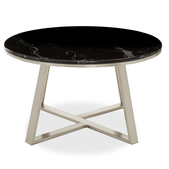 View Alvara black marble top coffee table with silver metal base