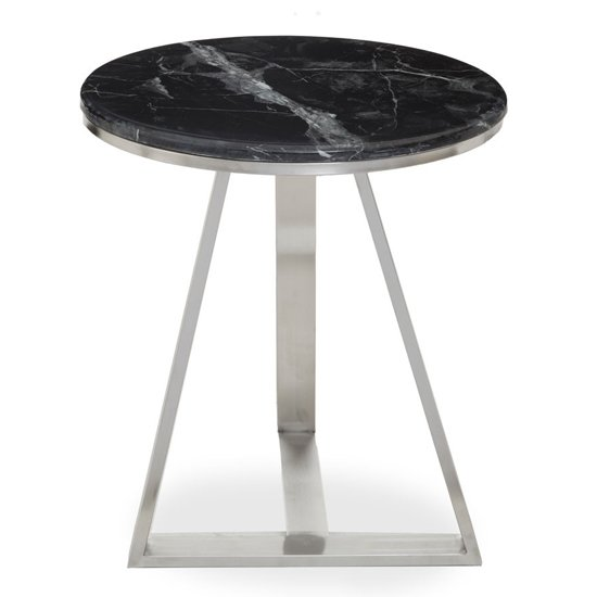 View Alvara black marble top side table with silver metal base