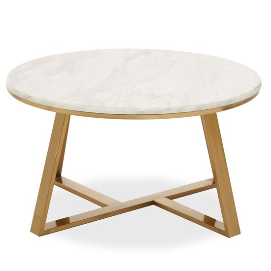 View Alvara white marble top coffee table with gold metal base