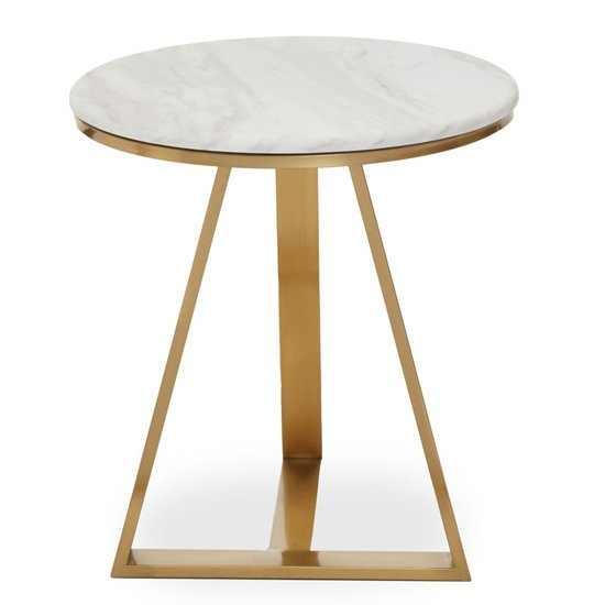 View Alvara white marble top side table with gold metal base