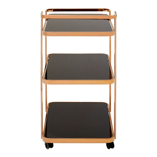 Alvara 3 Tier Bar Trolley In Rose Gold With Black Glass Shelves_2