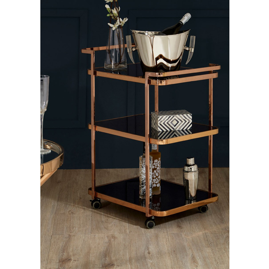 Alvara 3 Tier Bar Trolley In Rose Gold With Black Glass Shelves_3