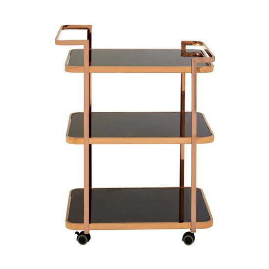 Alvara 3 Tier Bar Trolley In Rose Gold With Black Glass Shelves