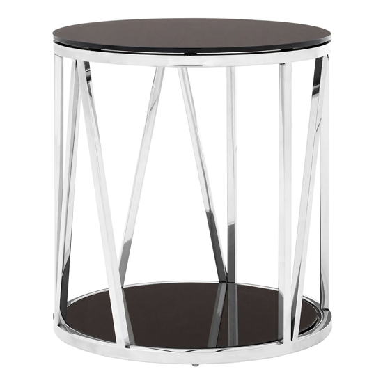 Alvara Round Side Table In Chrome With Black Mirror Top