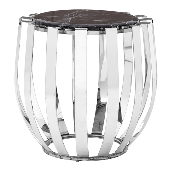 Alvara Side Table In Silver With Black Marble Top