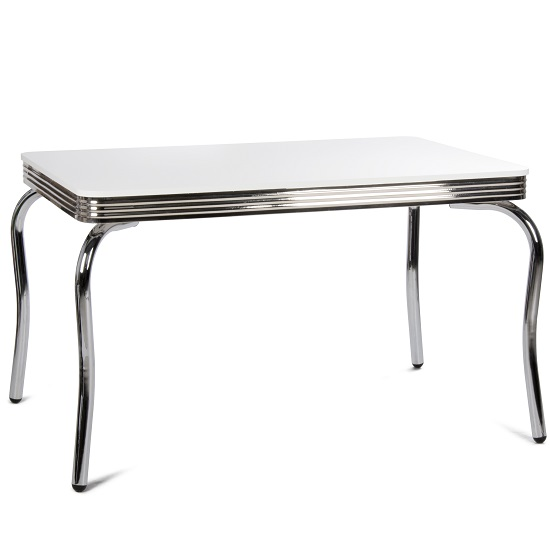 Altona Bistro Dining Table Rectagular In White With Metal Frame