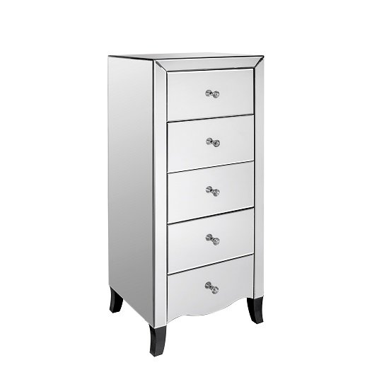 Alvaro Mirrored Tall Chest of Drawers With 5 Drawers