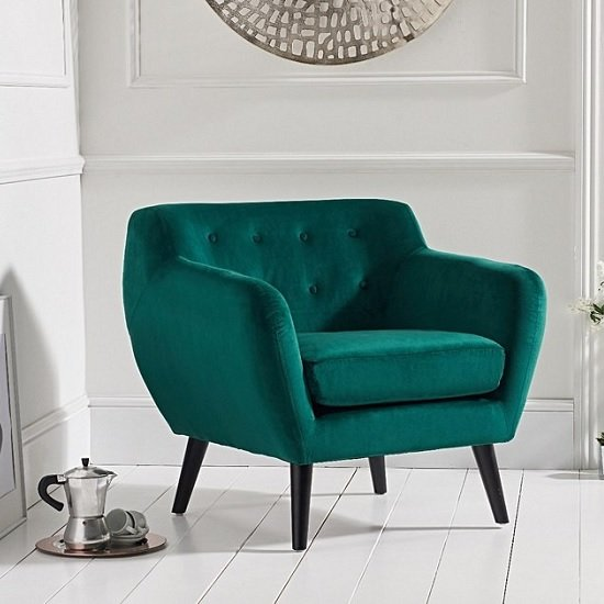 Alvey Modern Accent Chair In Green Velvet With Dark Legs