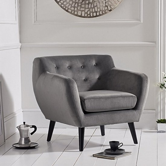 Alvoy Modern Accent Chair In Grey Velvet With Dark Legs