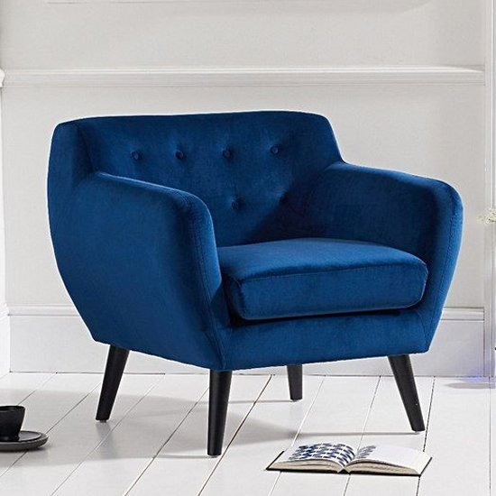 Alvoy Modern Accent Chair In Blue Velvet With Dark Legs