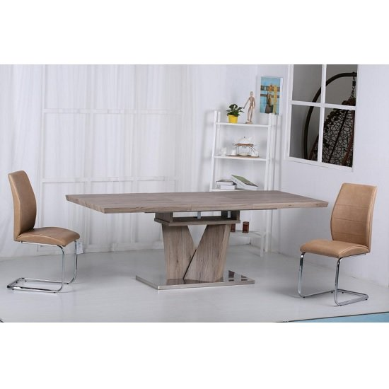 Alzano Extendable Dining Table In Oak Effect And 6 Brown Chairs