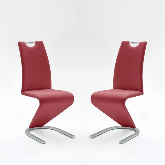 Amado Dining Chair In Bordeaux Faux Leather In A Pair