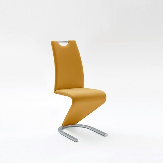Amado Dining Chair In Curry Faux Leather With Chrome Base