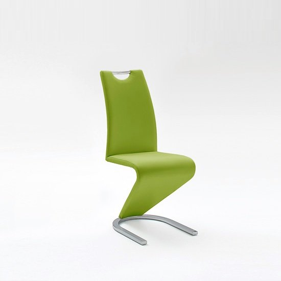 Amado Dining Chair In Lime Faux Leather With Chrome Base