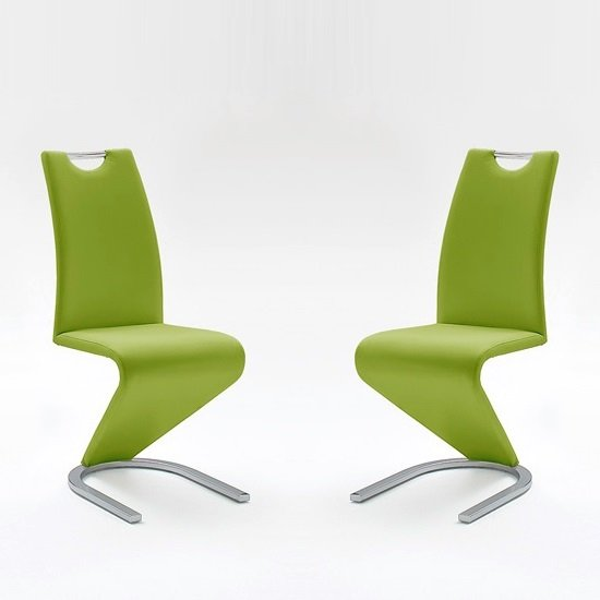Amado Dining Chair In Lime Faux Leather In A Pair
