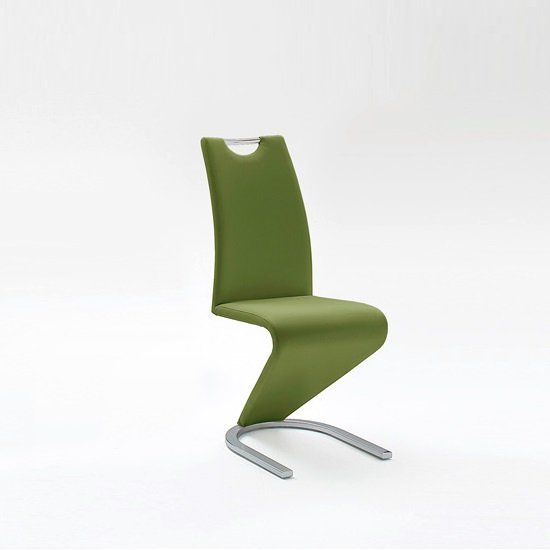 Amado Dining Chair In Olive Faux Leather With Chrome Base
