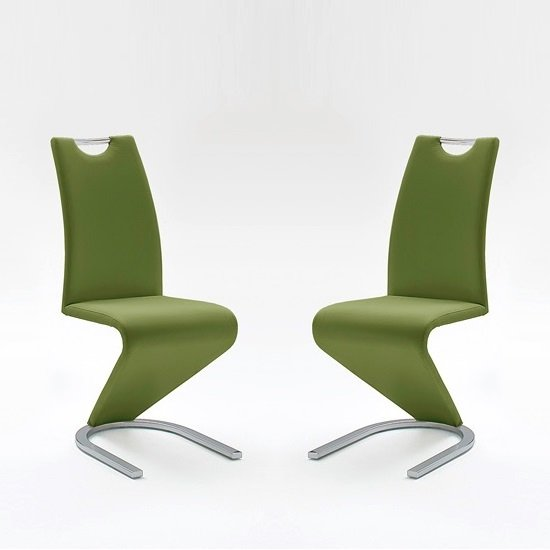 Amado Dining Chair In Olive Faux Leather In A Pair_1