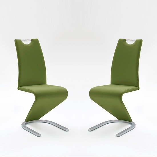 Amado Dining Chair In Olive Faux Leather In A Pair