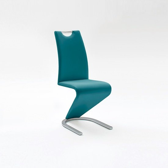 Amado Dining Chair In Petrol Faux Leather With Chrome Base